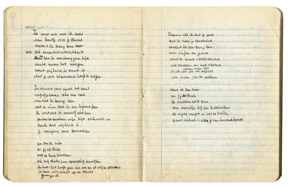 Liedtekst van Ik sta hier en jij zit thuis in Freeks handschrift, 1976.