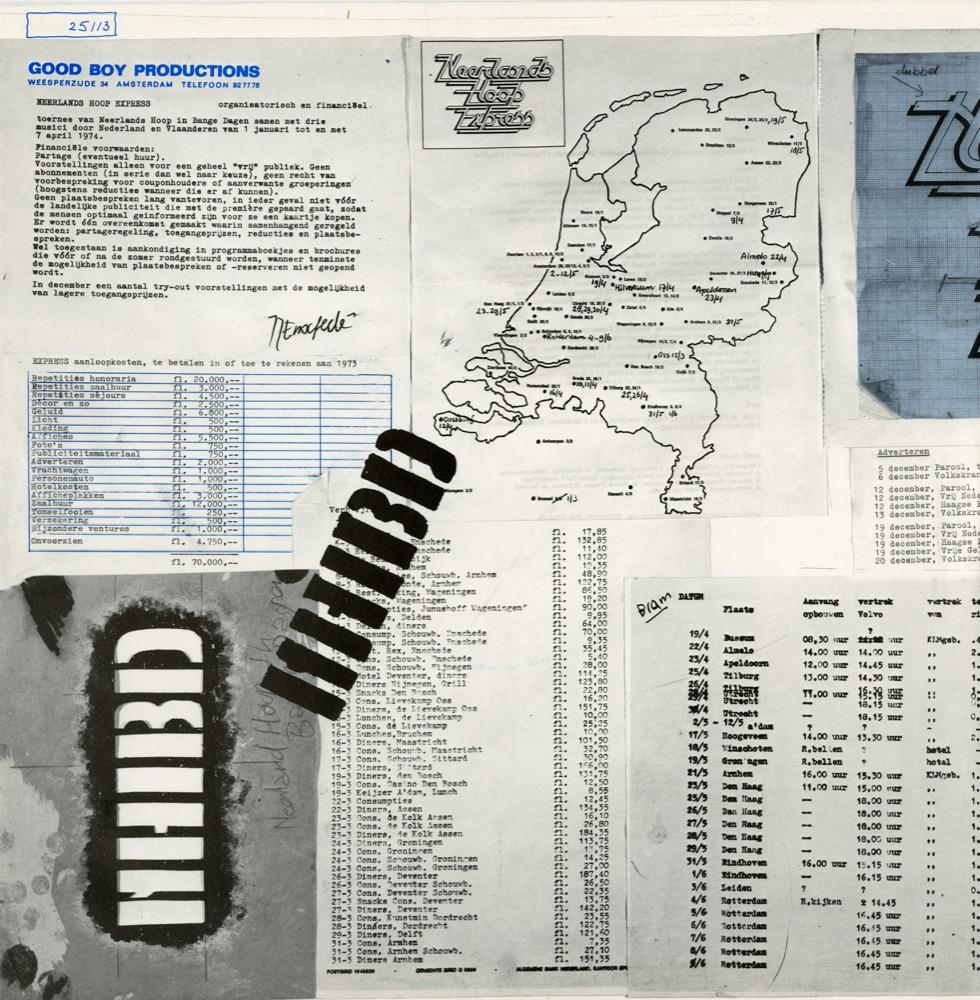 De karakteristiek vormgegeven binnenhoezen van de dubbel-lp 'Neerlands Hoop Express', 1974.